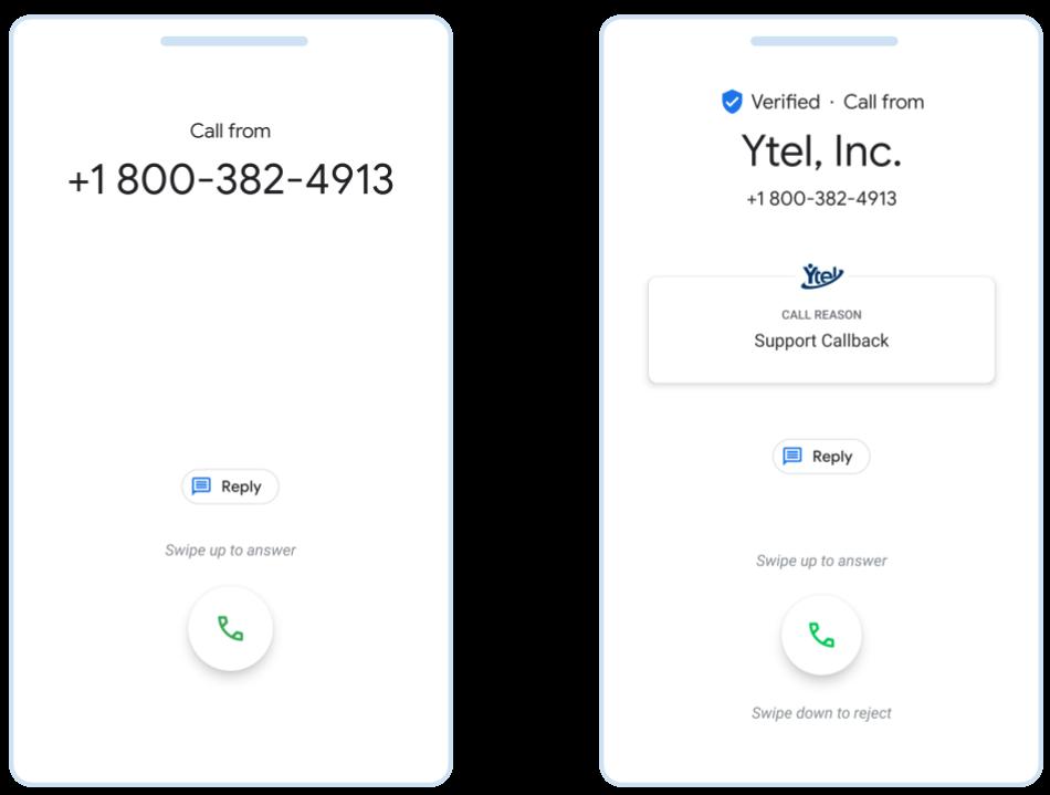 Non verified vs Google Verified call Image