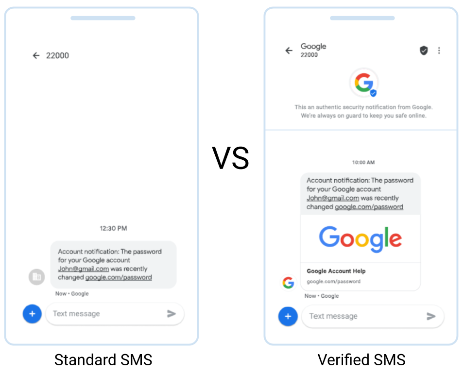 Verified SMS by Google - Display your Brand, Logo, and